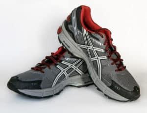 A pair of Asics trainers
