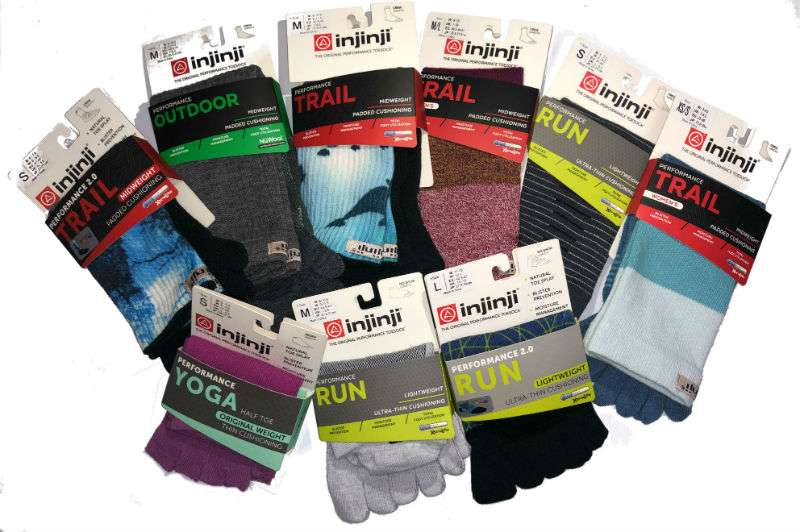 An array of Injinji toe socks includingthe new yoga toeless socks
