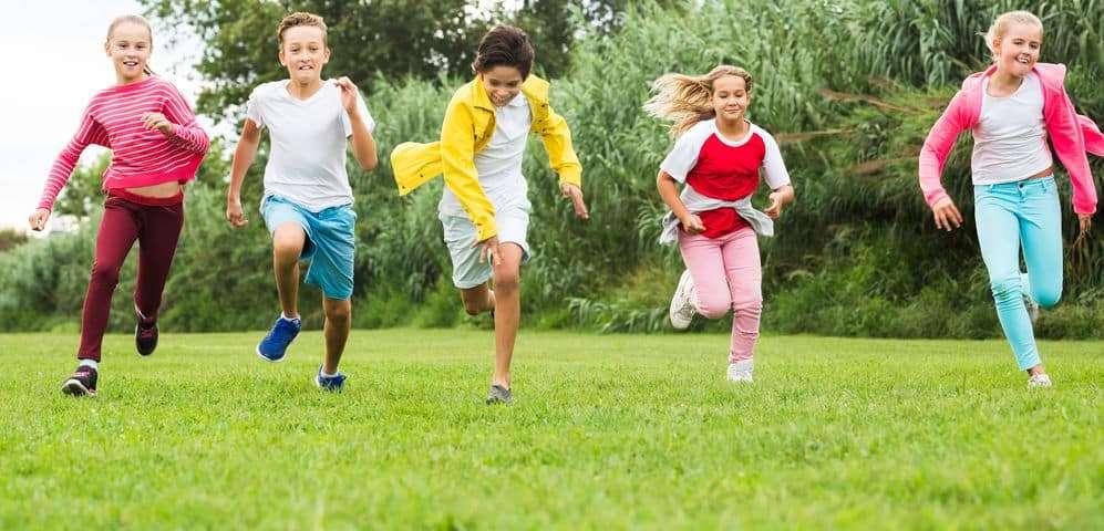 Children racing each other
