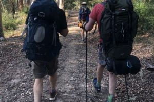 Men going hiking